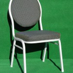 (Art.Nr. 3002) Bankettstuhl, Gestell Silber, Sitz + Rücken grau