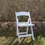 (Art.Nr. 3015) Stuhl Hochzeit weiss, Holzklappstuhl, Buche braun, Buchensprossen, weiss lackiert, Polster weiss auf Sitzfläche