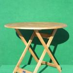 (Art.Nr. 5005) Teakholz-Klapptisch 90 cm rund, 74 cm hoch, für 4-5 Personen