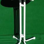 (Art.Nr. 5014) Bistro-Stehtisch 85 cm Durchmesser, Tellerfuß verchromt, Platte Buche, 110 cm hoch