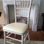 (Art.Nr. 3018) Chiavari Chair Weiß oder Creme, Gesamthöhe inkl. Rückenlehne 92 cm, Sitzfläche 36x39 cm, Sitzhöhe 44 cm, Höhe Rückenlehne 48 cm, Breite Rückenlehne 38 cm